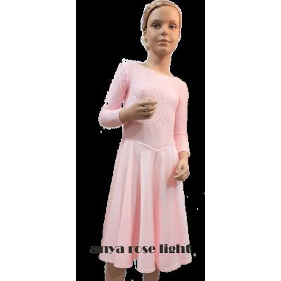 Платье Аня танцевальное, конкурсное, для девочки, с рукавом 3/4.