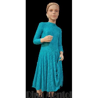 Платье Дина танцевальное конкурсное с рукавами 3/4 и гипюром.