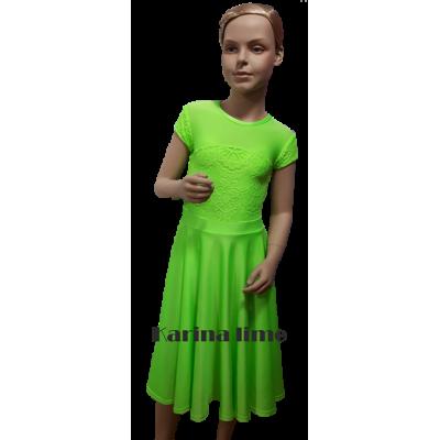 Платье танцевальное конкурсное для девочки с коротким рукавом Карина.