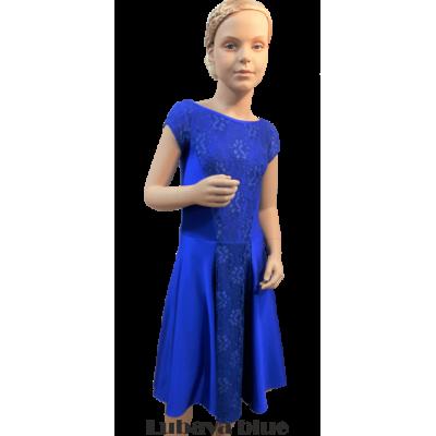 Платье танцевальное конкурсное для девочки с коротким рукавом Любава.