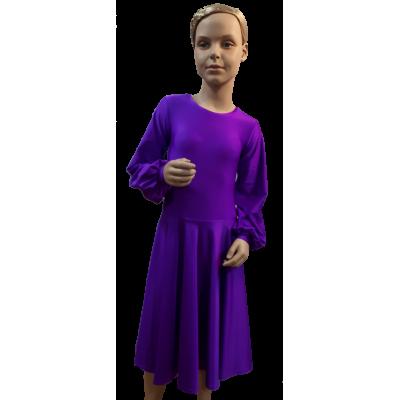 Платье танцевальное конкурсное для девочки с длинным рукавом Настя.