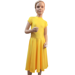Платье для танцевальных конкурсов и выступлений рейтинговое с коротким рукавом Оля.